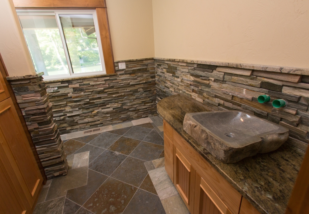 Tile bathroom with granite vanity