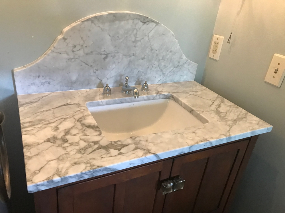 Image Carrera Marble Vanity With Custom Backsplash