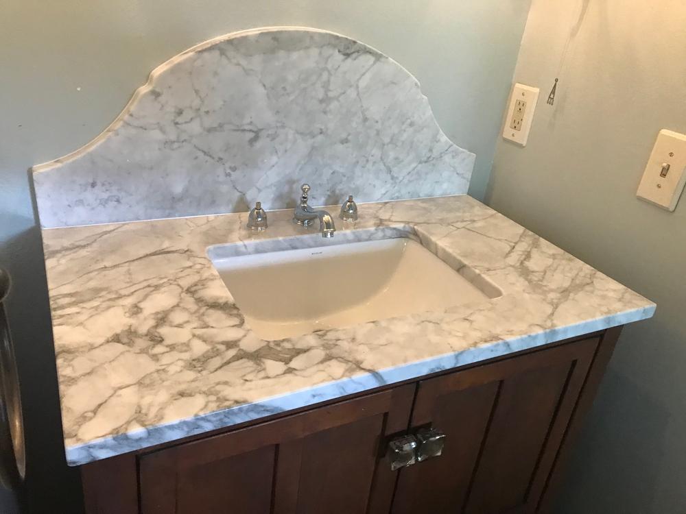 Image Carrera Marble Vanity With Custom Backsplash
