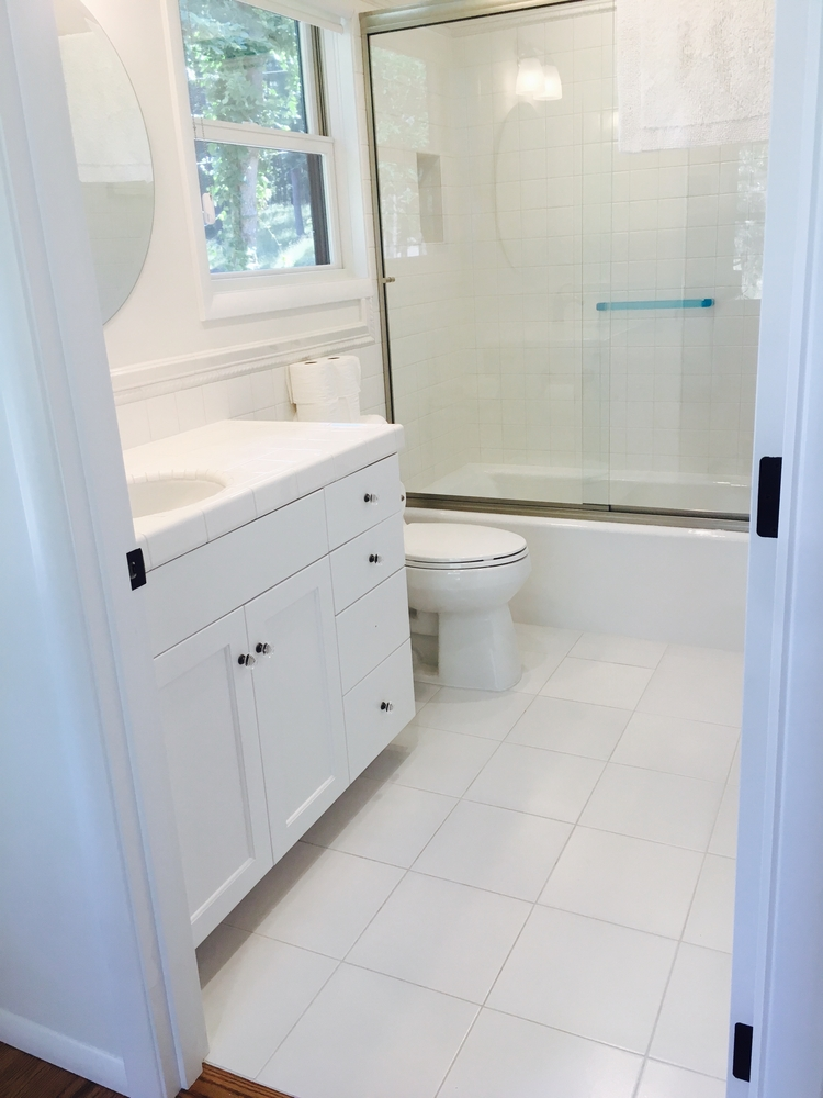Shower, Tub Surround and Vanities in White Subway tile with rope and ...